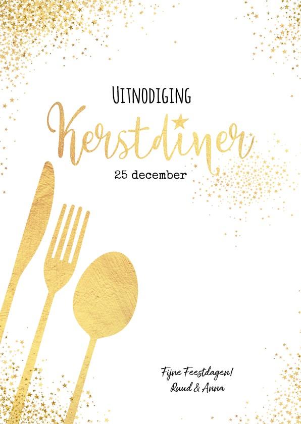 Kerstkaarten - Kerst sfeervolle witte uitnodiging kerstdiner goud bestek