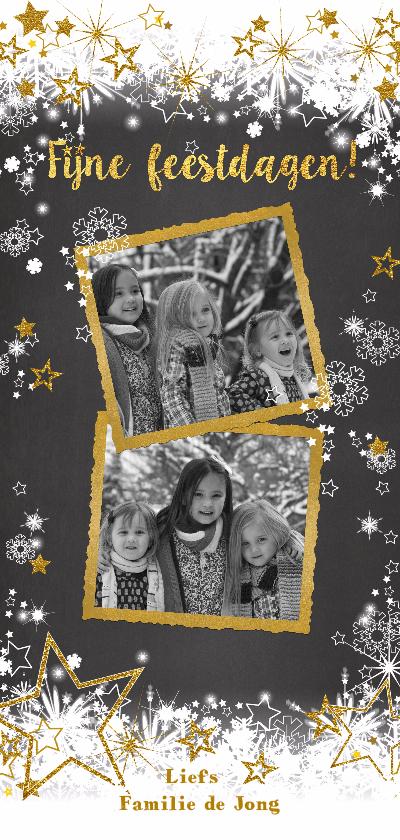 Kerstkaarten - Kerst sierlijk lief sneeuw ster goud foto