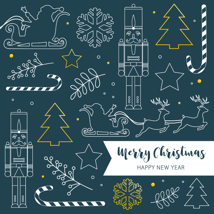 Kerstkaarten - Kerst - Silhouetten wit en goudlook
