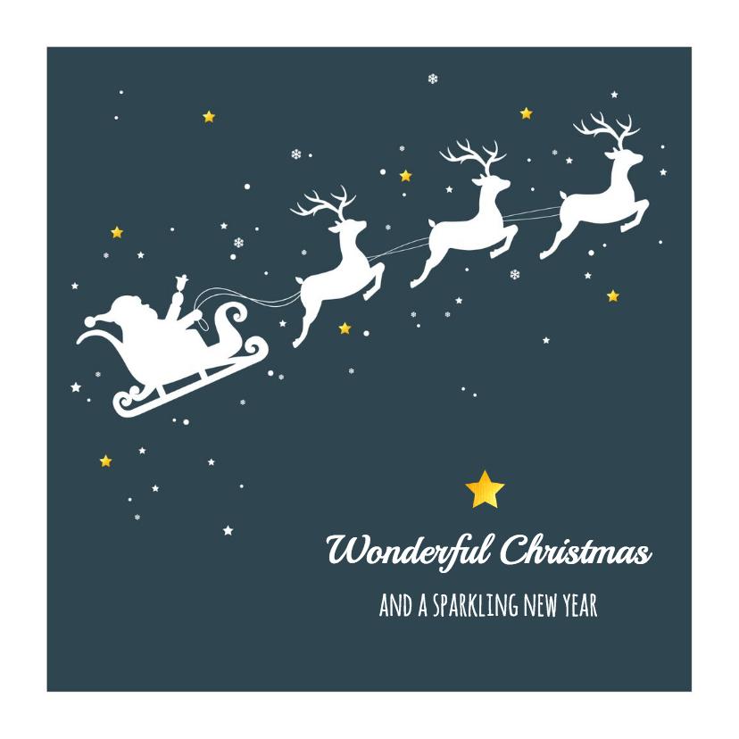 Kerstkaarten - Kerst - Slee, rendieren en sterren