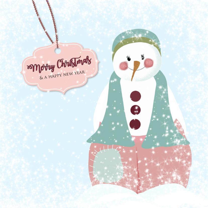Kerstkaarten - Kerst sneeuwpop roze broek