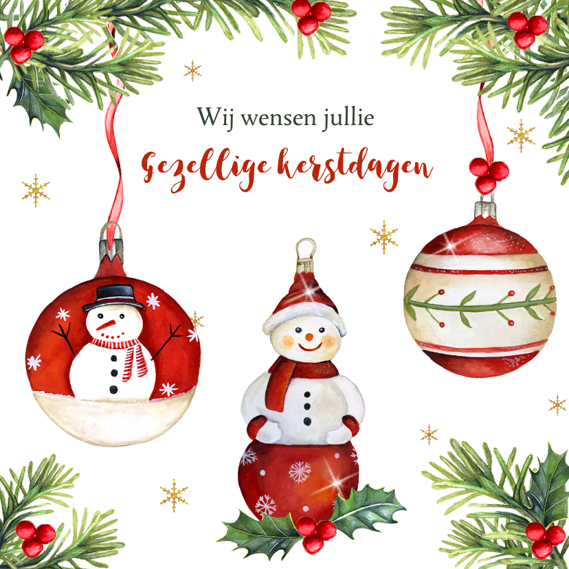 Kerstkaarten - Kerst sneeuwpopje beertje