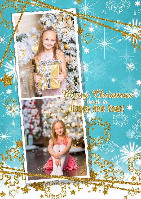 Kerstkaarten - Kerst sprankelend foto blauw S