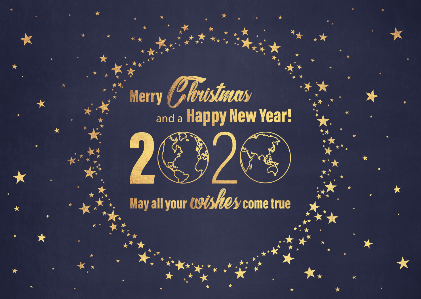 Kerstkaarten - Kerst stijlvolle blauwe kaart en  goudkleurig wereldbol