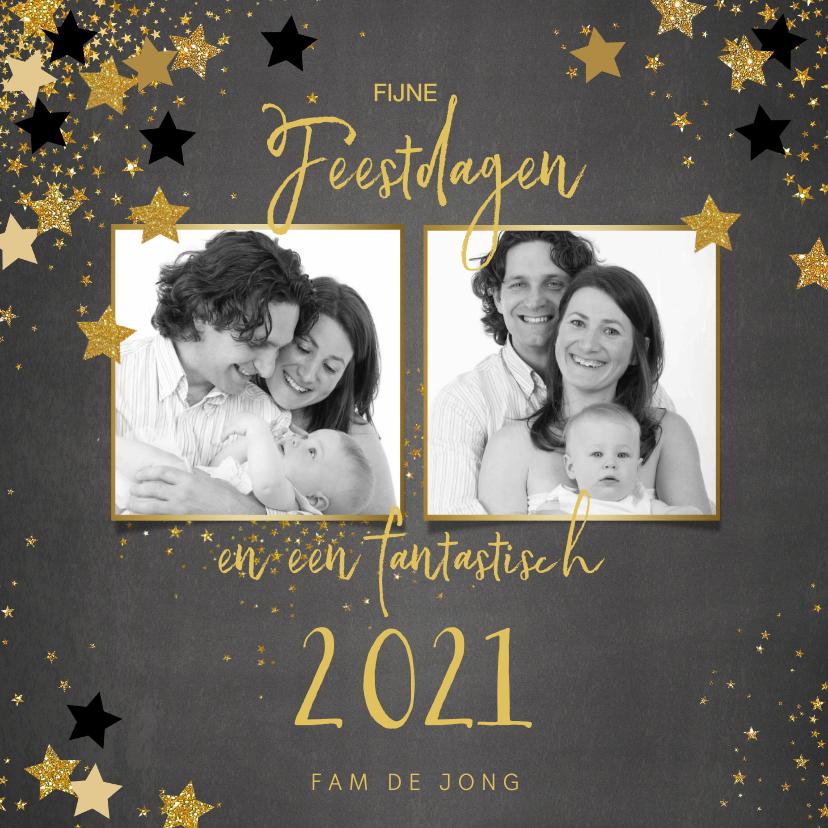 Kerstkaarten - Kerst stijlvolle foto kaart krijtbord en sterren 2020