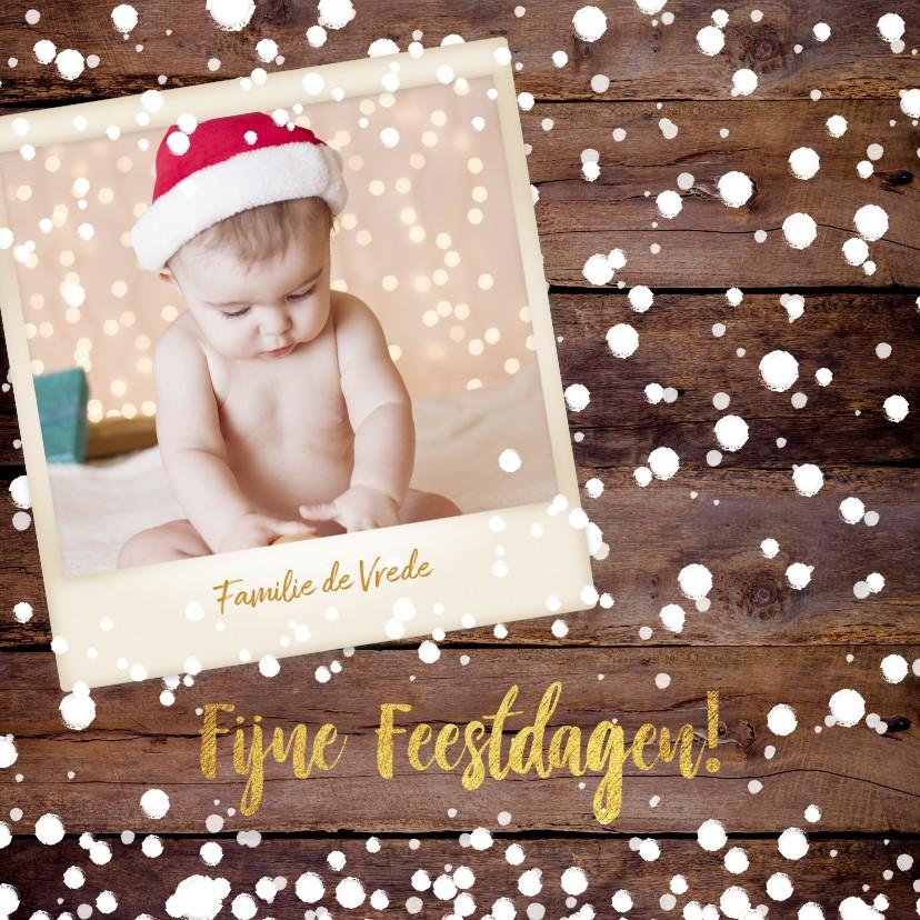Kerstkaarten - Kerst stoere winterse fotokaart  houtprint en sneeuwvlokken