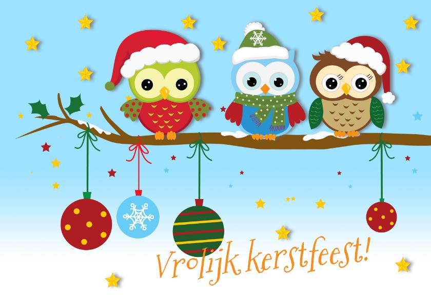 Kerstkaarten - Kerst uiltjes, kerstbal en ster