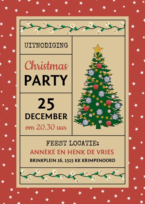 Kerstkaarten - Kerst uitnodiging voor Christmas Party met kerstboom