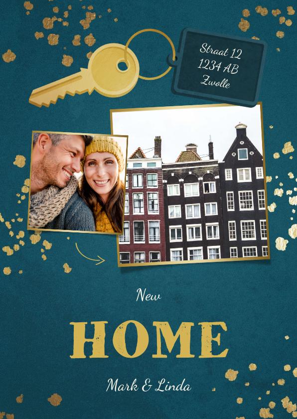 Kerstkaarten - Kerst-verhuiskaart 2 foto's sleutel met label new home