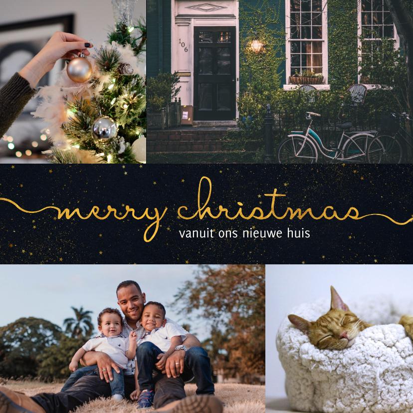 Kerstkaarten - Kerst-verhuiskaart donkere achtergrond met sierlijke letters