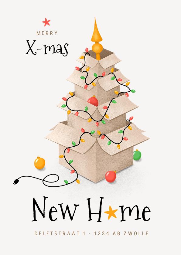 Kerstkaarten - Kerst verhuiskaart dozen lampjes kerstboom sterren