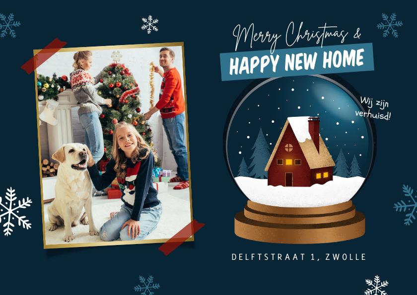 Kerstkaarten - Kerst verhuiskaart huis sneeuwbol happy new home