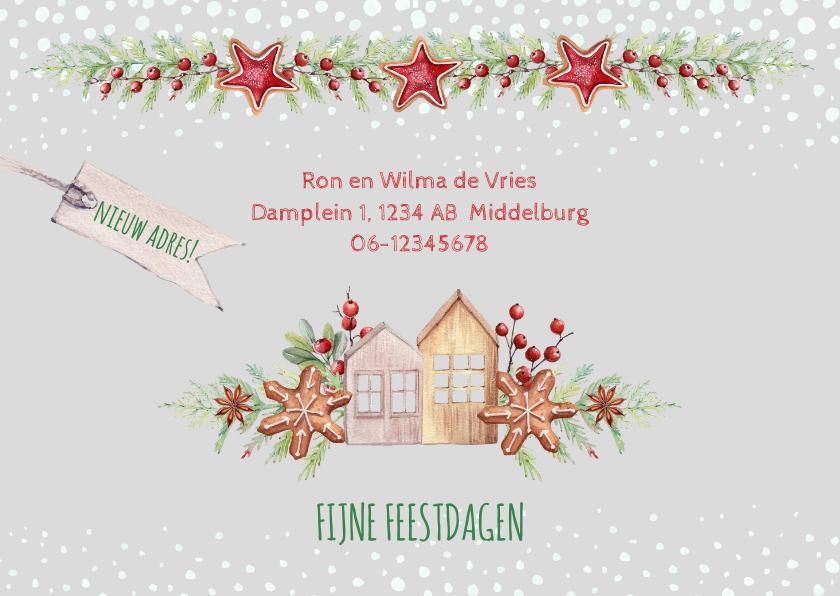 Kerstkaarten - Kerst-verhuiskaart huisjes met kerstkoekjes