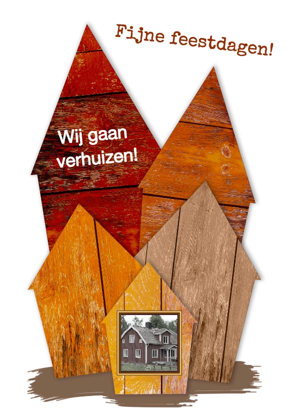 Kerstkaarten - Kerst verhuiskaart huisjes van hout