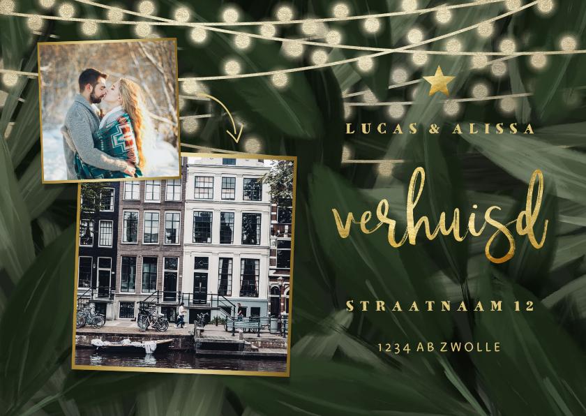 Kerstkaarten - Kerst-verhuiskaart jungle bladeren met gouden accenten