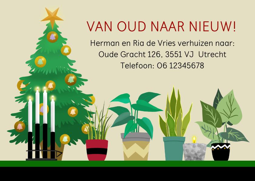 Kerstkaarten - Kerst-verhuiskaart kerstboom kaarsen planten