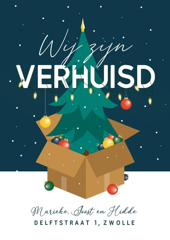 Kerstkaarten - Kerst verhuiskaart kerstboom kerstballen winter sneeuw