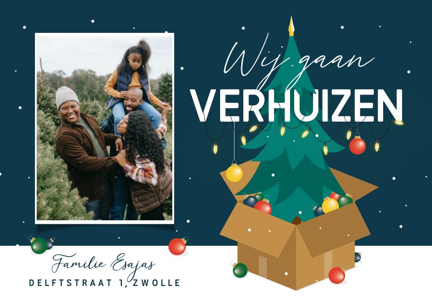 Kerstkaarten - Kerst verhuiskaart kerstboom verhuisdoos kerstballen sterren