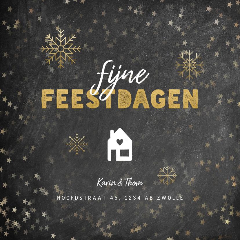Kerstkaarten - Kerst verhuiskaart krijtbord sterren sneeuwvlokken en huis