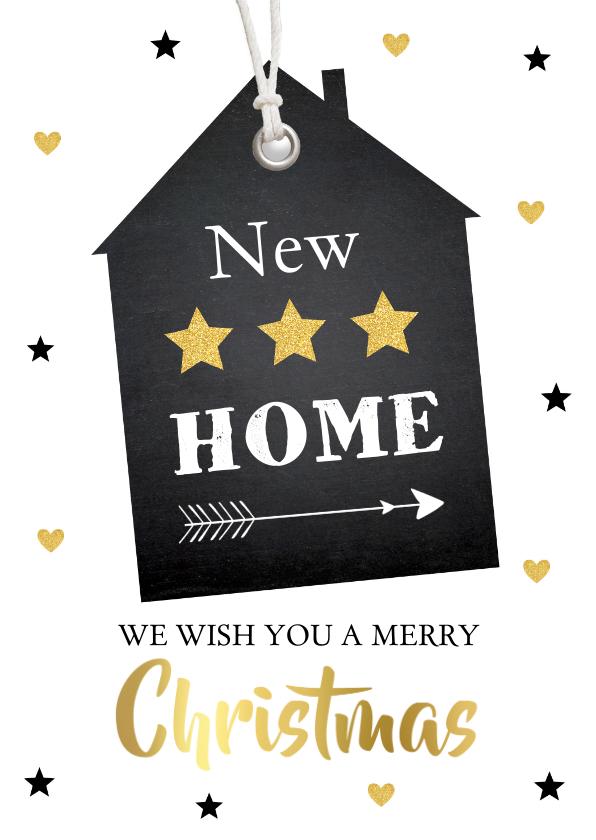 Kerstkaarten - Kerst verhuiskaart labelprint goudlook