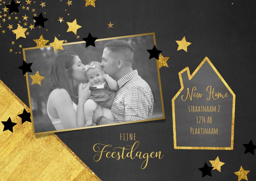 Kerstkaarten - Kerst verhuiskaart met foto hip en feestelijk goud sterren