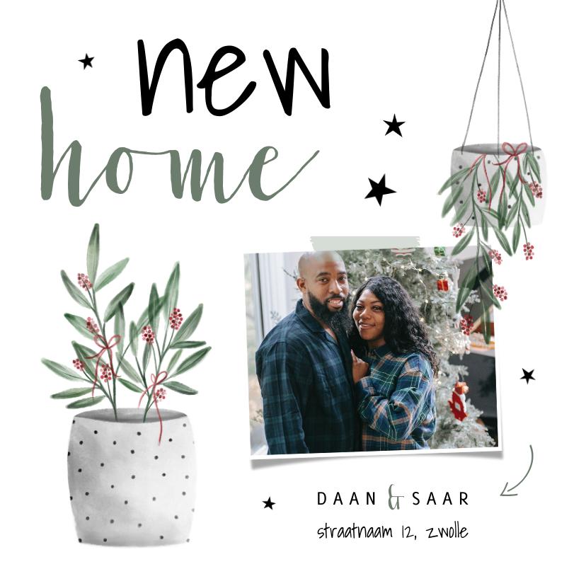 Kerstkaarten - Kerst verhuiskaart met foto, planten en sterren