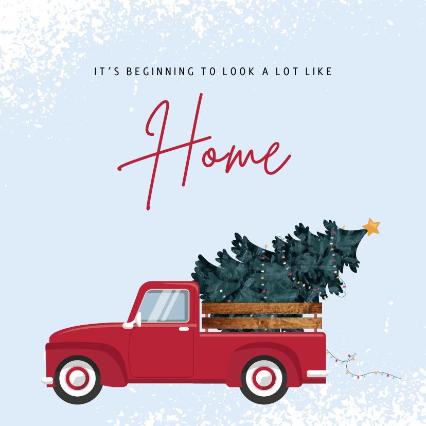 Kerstkaarten - Kerst verhuiskaart met rode pick-up met kerstboom