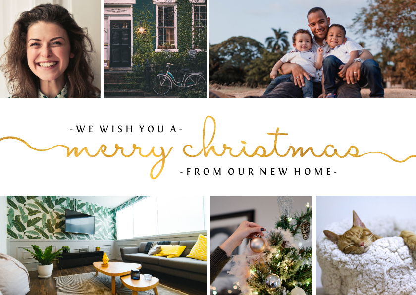 Kerstkaarten - Kerst-verhuiskaart  met sierlijke letters en foto's