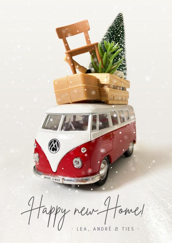Kerstkaarten - Kerst verhuiskaart met Volkswagen busje en spullen op dak