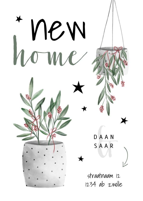 Kerstkaarten - Kerst verhuiskaart new home met planten en sterren