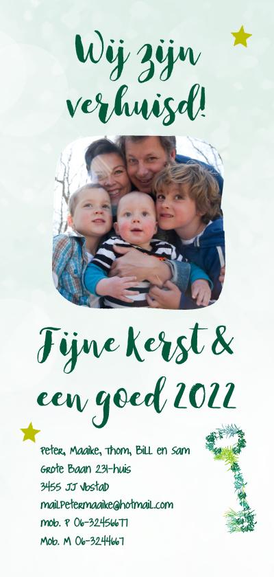 Kerstkaarten - Kerst-verhuiskaart sleutel takjes foto eigen tekst