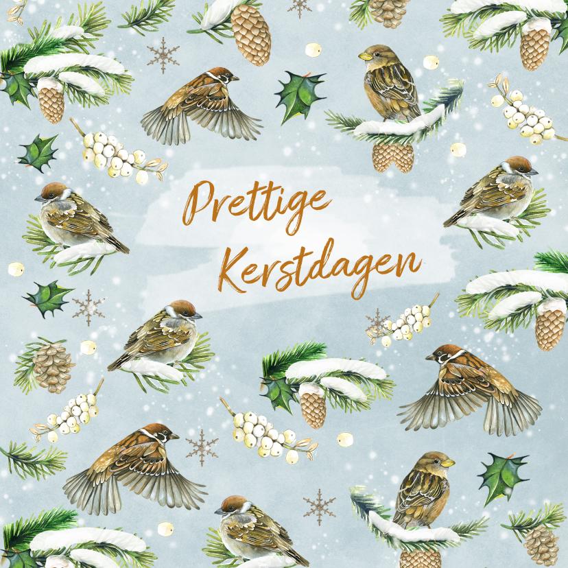 Kerstkaarten - Kerst vogeltjes in de sneeuw