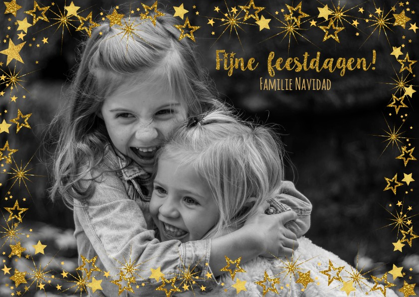 Kerstkaarten - Kerst vrolijke hippe fotokaart met goudkleurige sterren.