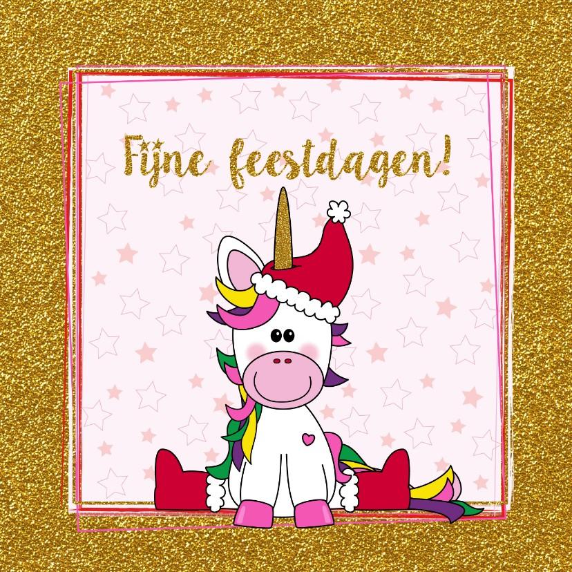 Kerstkaarten - Kerst vrolijke kaart met een schattige unicorn met kerstmuts