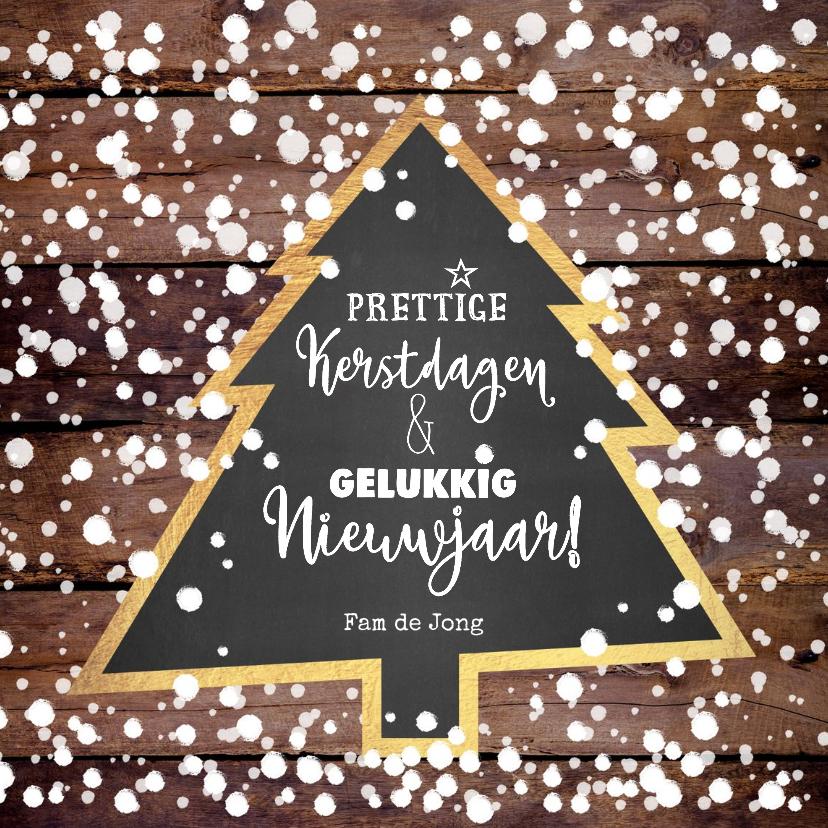 Kerstkaarten - Kerst winterse kaart houtlook en kerstboom krijtbord