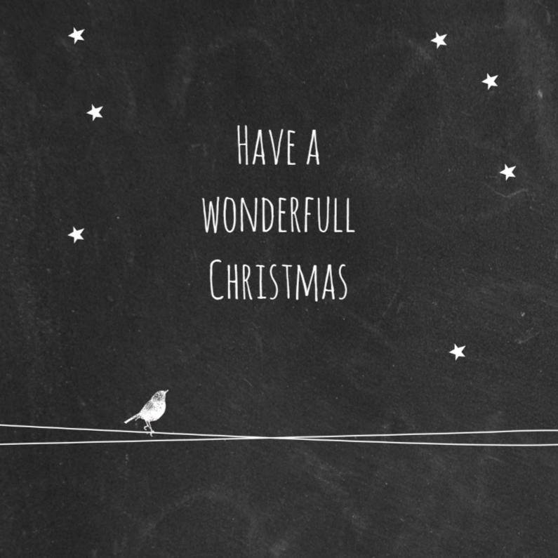 Kerstkaarten - Kerst zwart wit vogel