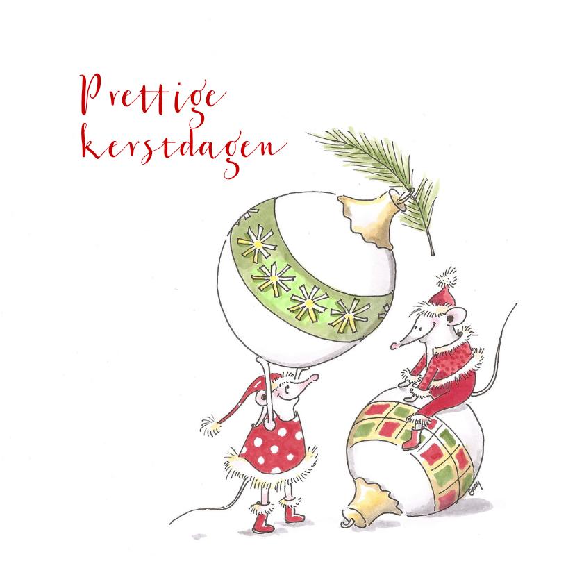 Kerstkaarten - Kerstbal muizen