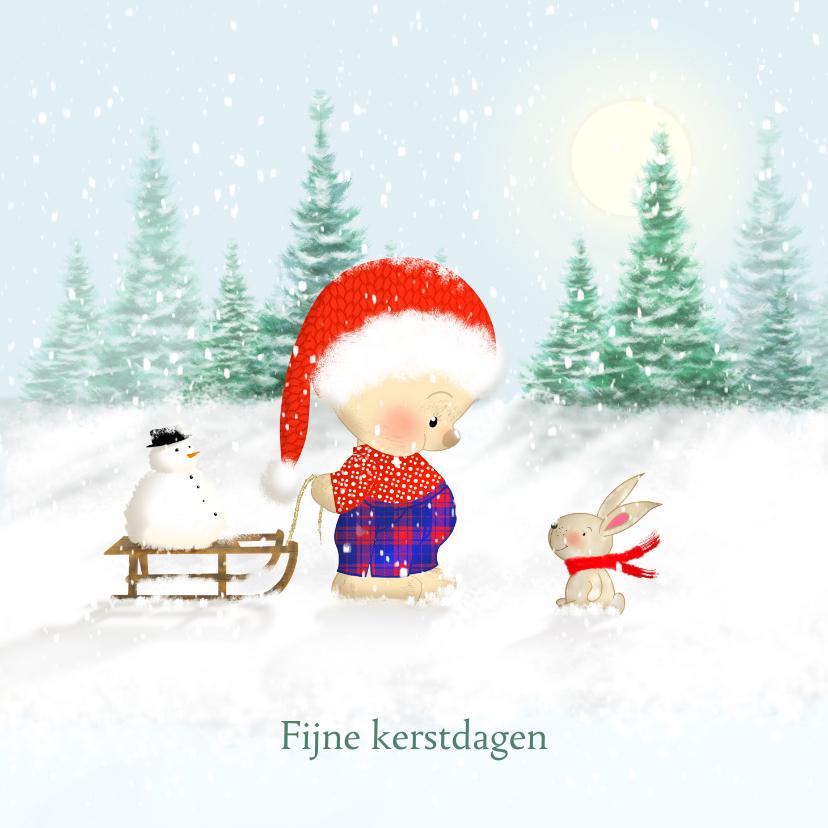 Kerstkaarten - Kerstbeer met slee en konijn in de sneeuw