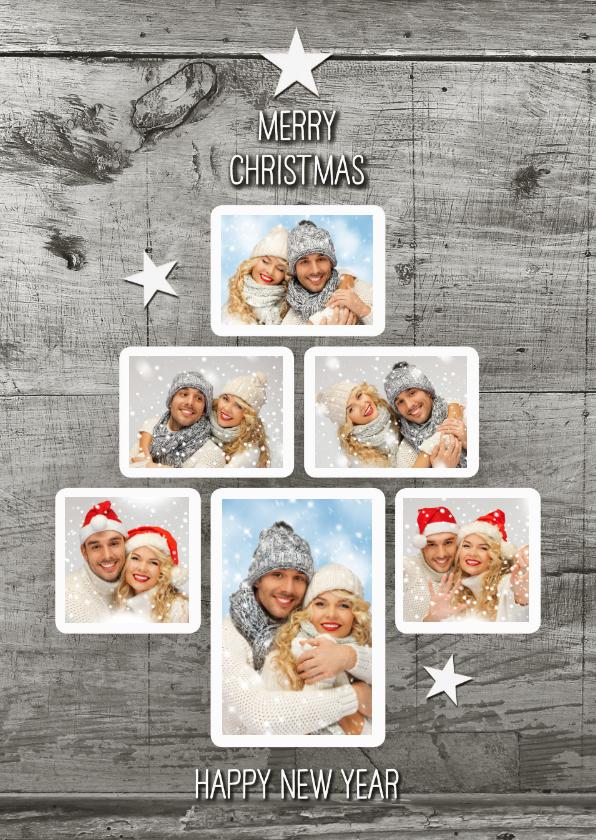 Kerstkaarten - Kerstboom Fotocollage trendy kerstboom op hout