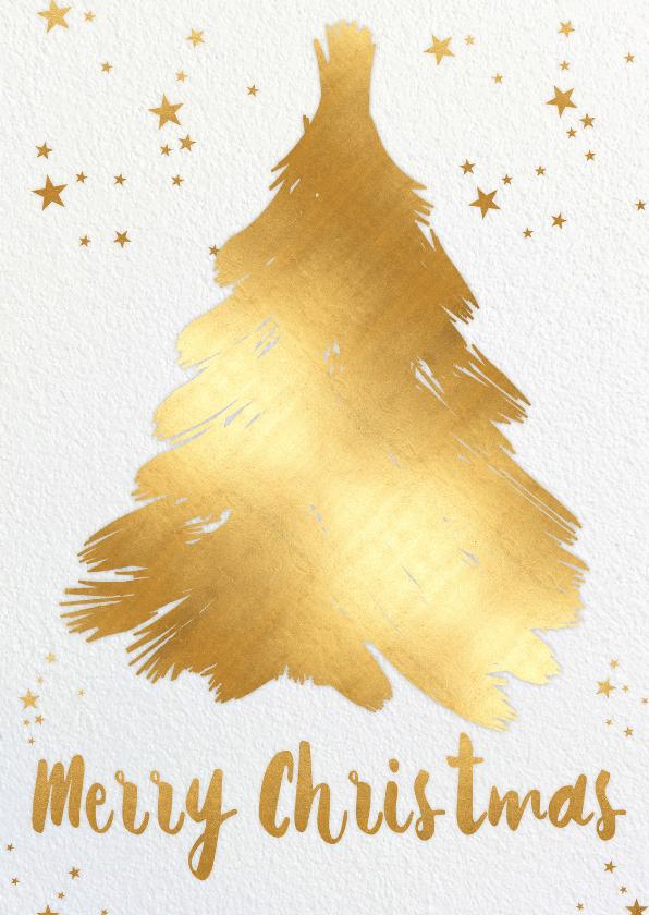 Kerstkaarten - Kerstboom goudgeel