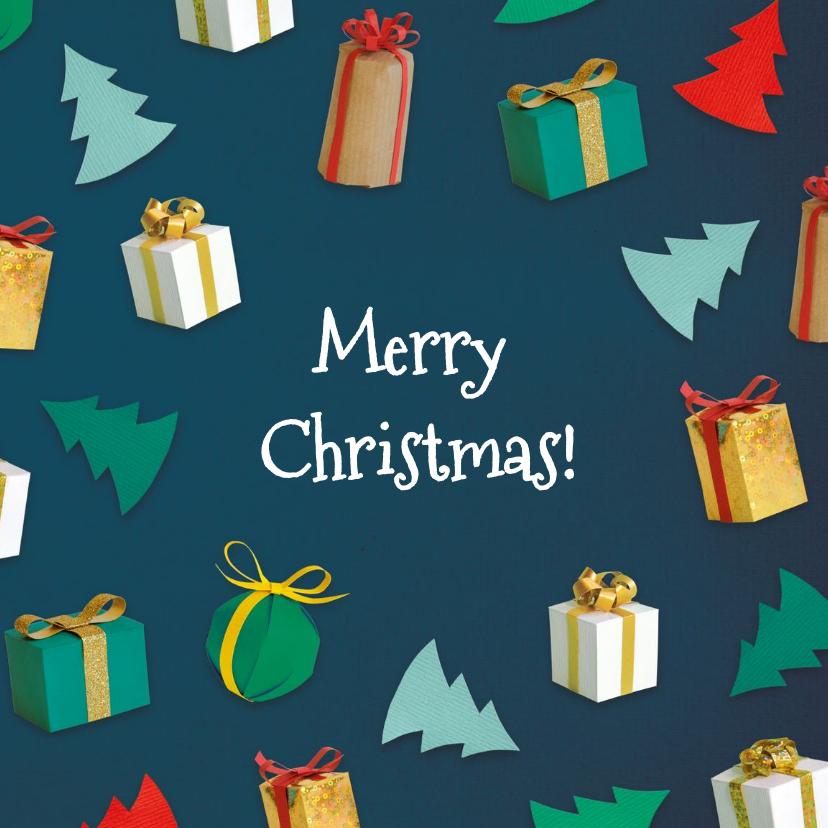 Kerstkaarten - Kerstboompjes en cadeautjes