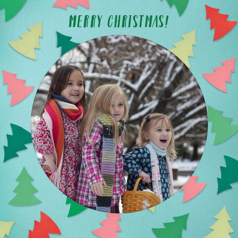 Kerstkaarten - Kerstboompjes fotorand