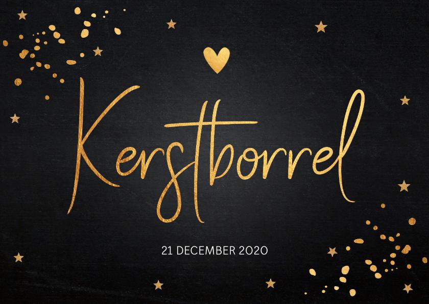 Kerstkaarten - Kerstborrel uitnodiging gouden confetti krijtbord