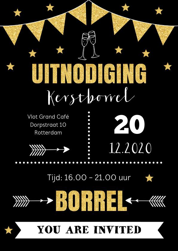 Kerstkaarten - Kerstborrel uitnodiging typografie goud sterren