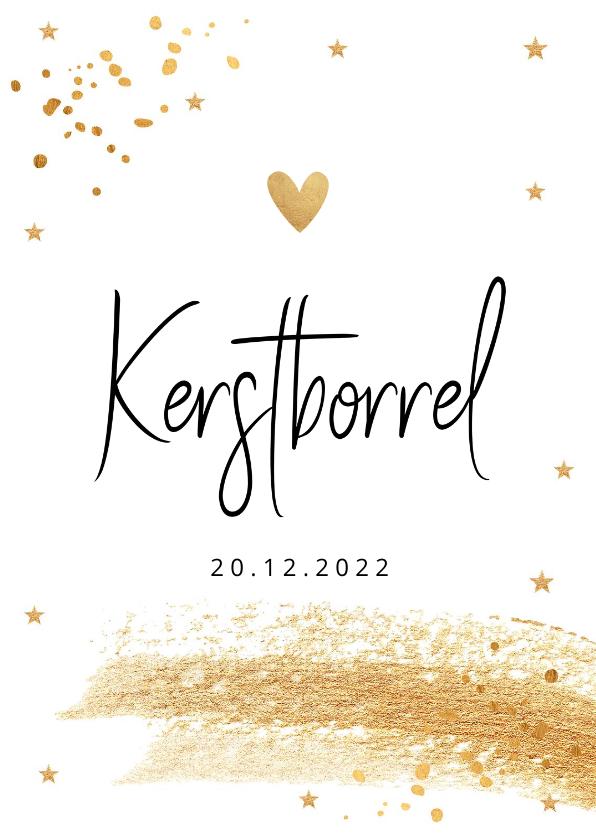 Kerstkaarten - Kerstborrel uitnodiging wit goudlook confetti