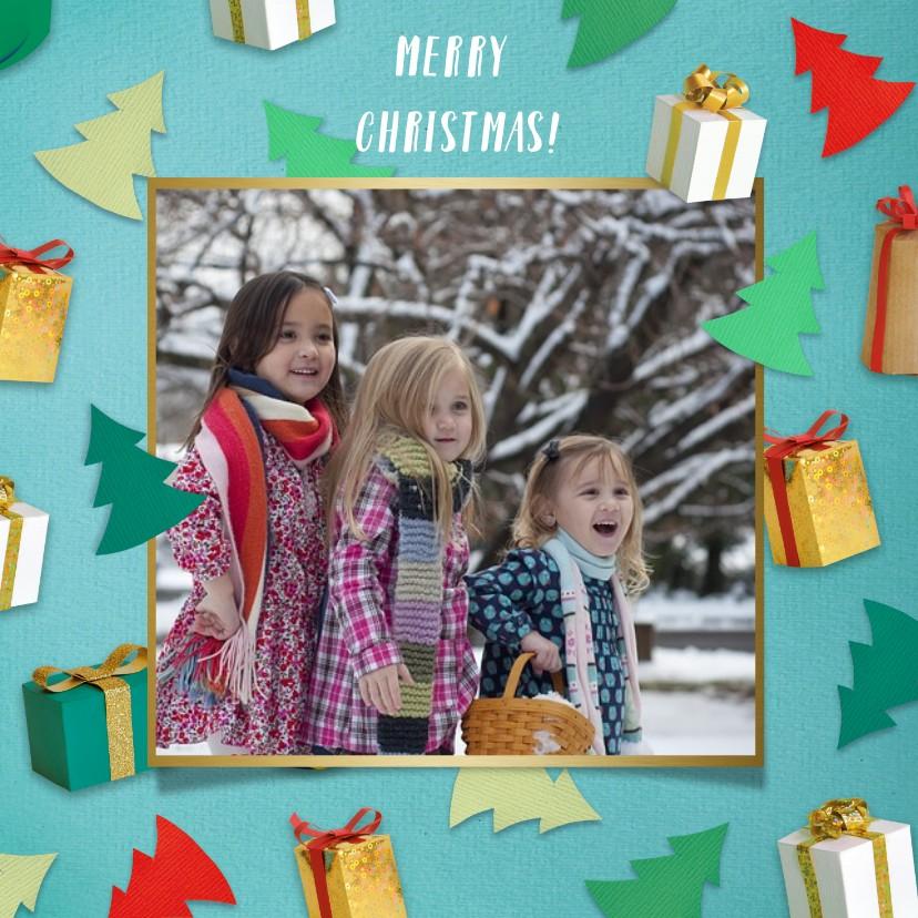 Kerstkaarten - Kerstcadeautjes fotorand turquoise