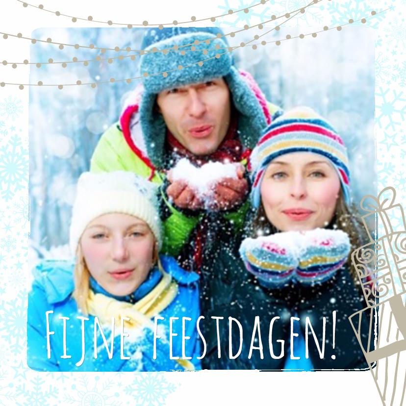 Kerstkaarten - Kerstcollage 3 foto's met getekende lampjes