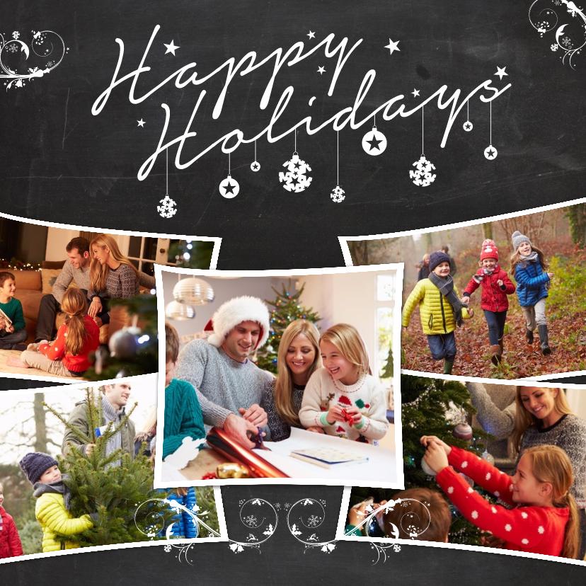 Kerstkaarten - Kerstcollage krijt 5 foto's - BK