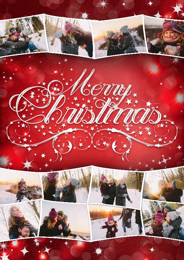 Kerstkaarten - Kerstcollage rood 12 foto's