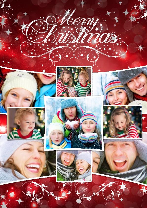 Kerstkaarten - Kerstcollage rood 9 foto's